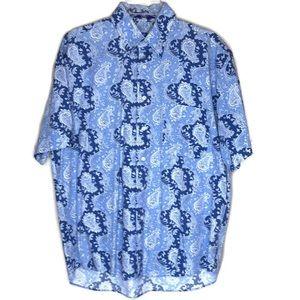 Alan Flusser Short Sleeve Blue/White Paisley Shirt
